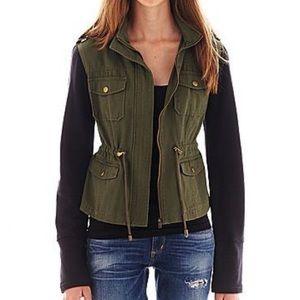 Sebby sz M olive and black utility jacket hoodie